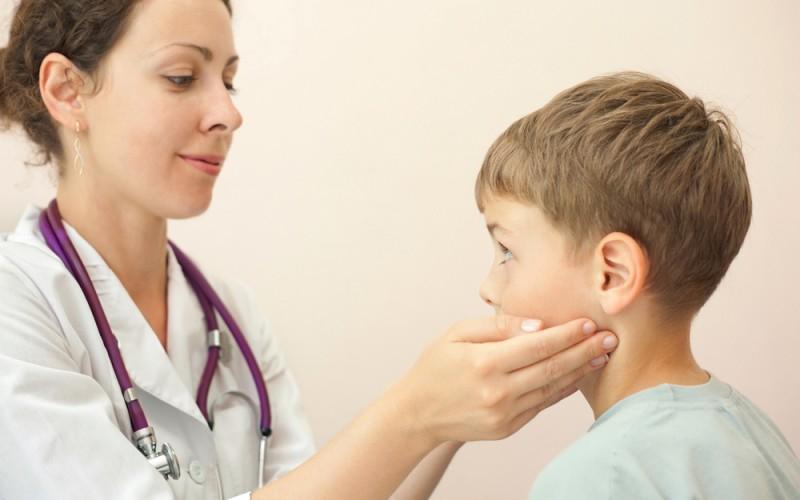 Swollen neck nodes in children